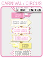 Carnival Party Directional Signs – Arrows – pink/yellow
