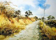 수채화 풍경화 : 네이버 이미지검색 Through The Window, Pathways, Watercolor Paintings, Watercolour, Landscape Paintings, Paint Colors, Country Roads, Outdoor, Korea