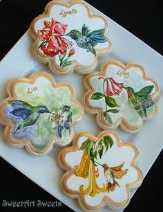Handpainted Hummingbird Cookies by SweetArtSweets on Etsy