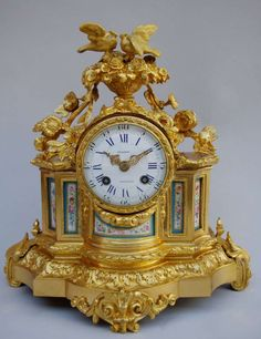 Louis XVI Style Clock in Gilded  Bronze and Porcelain   From a unique collection of antique and modern clocks at http://www.1stdibs.com/furniture/more-furniture-collectibles/clocks/