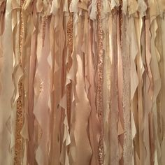 Items similar to Champagne and Gold Ribbon Backdrop, Photo Booth Backdrop, Gold Ribbon Backdrop, Lace Wedding Backdrop, Gold Backdrop on Etsy Ribbon Backdrop, Gold Backdrop, Photo Booth Backdrop, Shabby Chic Shower Curtain, Gold Ribbons, Fabric Strips, Diy Curtains, Lace Wedding, Backdrops