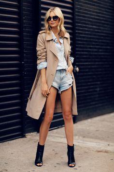 #outfit #trench #short #whiteshirt #fashion