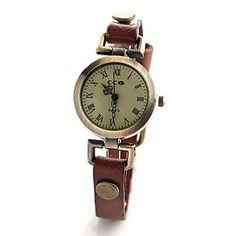 vrouwen vintage stijl lederen band quartz analoog horloge (verschillende kleuren) – EUR € 7.56