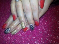 red gail nails with brocade and paint black lines :)