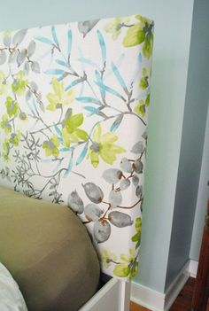 DIY Upholstered headboard - Young House Love - Wooden Frame covered with batting and fabric, stapled Diy Fabric Headboard, Headboard Cover, How To Make Headboard, Headboards For Beds, How To Cover A Headboard With Fabric, Upholstered Headboards, Bunk Beds, Young House Love, Diy Bed
