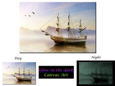 Glow in the Dark Canvas Art  Sailboat at Sea  by GlowingCanvasArt
