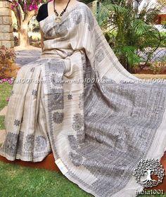 Elegant Block Printed Geecha Silk Saree