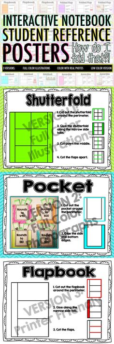 "If you are using interactive notebooks this year in ANY subject, these reference posters will save you some headaches from kids asking, ""HOW DO I FOLD THIS?!"" This set of posters for common foldable activities will help kids cut, fold, and glue their flippable INB elements! $"