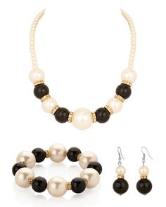Necklace Set with White, Black Pearl, Earrings, Bracelet, Cz