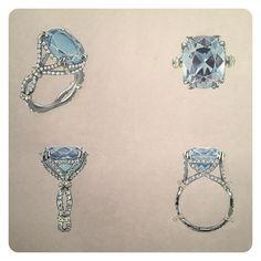 Gouache hand rendering copy of a blue topaz ring by Faulhaber. #rendering, #gouacherendering #jewelryrendering, #jewelrydesign, #jewelery_design, #jewelleryrendering, #jewelleryrenderings, #jewelryillustration #jewelleryillustration
