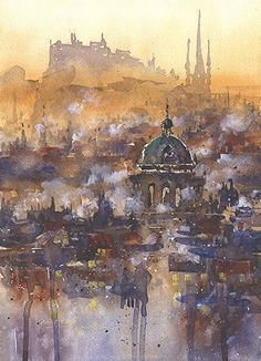 Edinburgh Imagined No. 3 by Iain Stewart Watercolor ~ 14 x 8