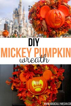 Create the beloved Mickey Pumpkin Wreath at home, its fun and easy and adds a touch of Disney to your life! Disney World Tips And Tricks, Disney Tips, Disney Planning, Walt Disney World Vacations, Disney Travel, Disney Parks, Disney Halloween, Happy Halloween, Diy Wreath