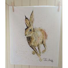 Hugo Hare Cotton Tea Towel Hare Kitchen Towel by SarahBoddyUK