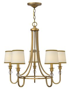 This Morgan 5 light chandelier has an updated traditional style that conveys both quality and comfort. It has a minimalist center and elegant off-white linen shades. Bronze trimming and crystal balls give this chandelier understated luxury.