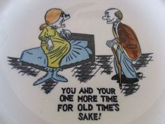 """Vtg Adult Humor Ceramic ASHTRAY Comic Cartoon Risque  """"You and your one more ..."""