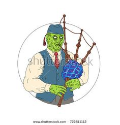 Zombie Piper Playing Bagpipes Grime Art Vector Stock Illustration Grime art style illustration of a Zombie Piper Playing Bagpipes viewed from front set inside circle on isolated background. Preschool Newsletter Templates, Graphic Illustration, Retro Illustrations, Framed Prints, Canvas Prints, Freelance Illustrator, Stickers, Fashion Art, Royalty Free Stock Photos