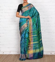 Sea Green Pure Silk Patola Saree