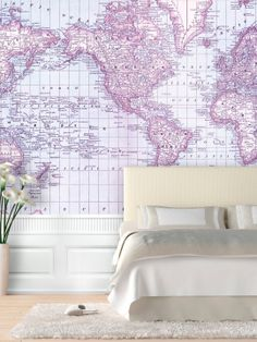 Rand McNally and Company Map of the World 1879. Love this large scale for wallpaper. (A steal now on Gilt!)