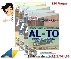 Apostilas preparatórias do Concurso da Assembléia Legislativa do Estado do Tocantins - AL-TO 2016, cargos Consultor Legislativo e Assistente Legislativo Especializado (Comum a Todos as Funções), Assistente Legislativo (Assistência Administrativa), Assistente Legislativo (Assistência Técnica em Enfermagem) e Consultor Legislativo (Área Administração). Ao todo são 66 vagas imediatas + 54 para cadastro de reserva, com remuneração inicial de R$ 5.190,06 a R$ 7.741,53 e carga horária de 40h…