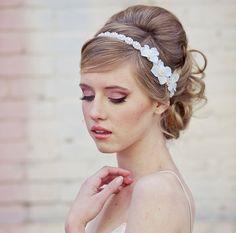 wedding hair, Pearl tie headband for weddings with ivory flowers, wedding tiara. $42.00, via Etsy.