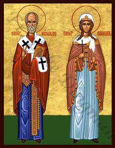 Icon of Saint Nicholas the wonderworker and Saint Barbara