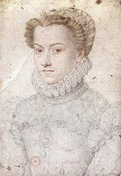 circa 1571 by François Clouet. Preparation portrait study of Élisabeth of Austria who became Queen Consort of France to her husband Charles IX. Portrait Sketches, Drawing Sketches, Art Drawings, Renaissance Portraits, Renaissance Era, French History, Art History, Hans Holbein The Younger, French Royalty