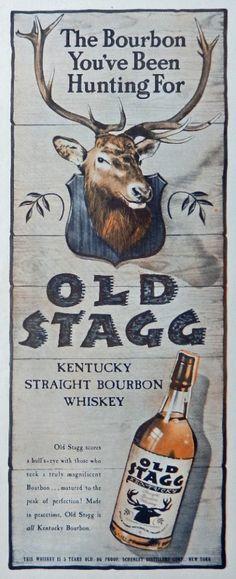 Old Stagg Whiskey  40 s Vintage Print Ad  Color Illustration   bull s eye  Life Magazine Art