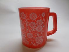 Fire King Rare Red Mug With White Flower Decal Vintage USA 37