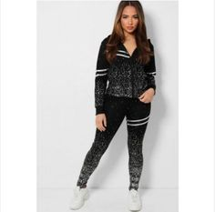WOMEN'S 2 PCS SILVER FLECKS DOUBLE STRIPE TRACKSUIT  UNIQUE TO OUR STORE  -Makes you looks chic, stylish, vibrant -Pull On Zip closure - Classy high quality fabric, breathable, skin-friendly, comfortable to wear. -It is made of high-quality soft fabric, comfortable to wear. -Soft, breathable, flexible for all day relaxing comfort. - Lightweight, quick-drying material, perfect for spring... Looks Chic, Daily Wear, Soft Fabrics, Swatch, Branding Design, Leather Pants, Vibrant, Classy, Brand Design
