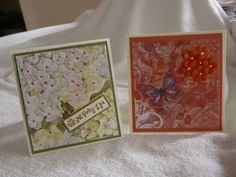 4 x 4 cards fitting in handmade box with handmade envelopes