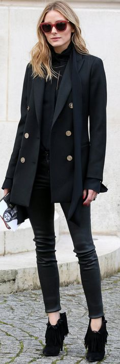 Olivia Palermo: Shirt – Chloe Sunglasses – Moncler Jacket – Reiss pants – Paige Purse – Meli Melo Shoes – Saint Laurent