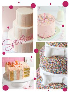 Sprinkles!   I never thought about a sprinkle cake. I don't know how you can get them on there that evenly.