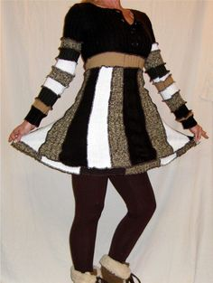 Pixie Sweater Dress Upcycled Sweaters Brown Tan --WINTER CLEARANCE /  50% OFF--