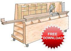 Organização de Oficina / Miter Saw station plan from Fine Woodworking. Woodworking Garage, Garage Tools, Fine Woodworking, Woodworking Projects, Woodworking Workshop, Lumber Rack, Lumber Storage, Wood Storage, Storage Cart