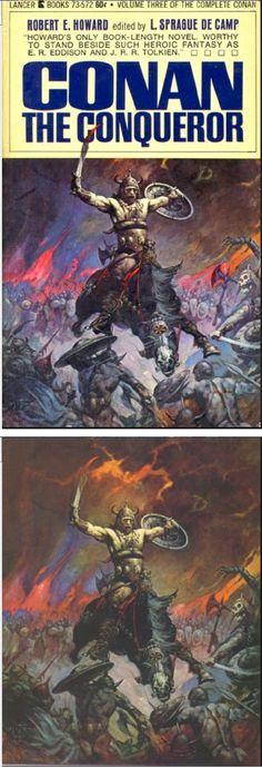 FRANK FRAZETTA - Conan The Conqueror by Robert E. Howard - 1967 Lancer Books #75-572 - cover by isfdb