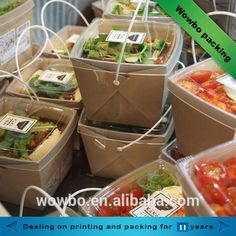 disposable take out brown kraft paper food lunch box with handle