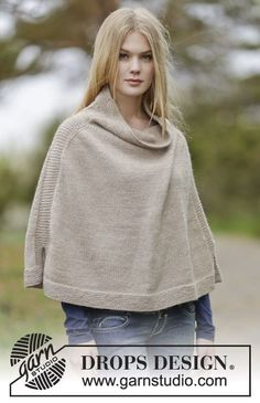 "Bonfire Snuggle - Knitted DROPS poncho in ""Nepal"". Size: S - XXXL. - Free pattern by DROPS Design"