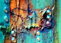 Original Art abstrait / Turquoise peinture / Mixed Media Art /