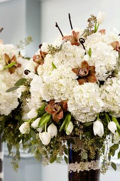 BEAUTIFUL!!! The cylinder with coffee beans & white pinto beans...then arranged white hydrangea, chocolate cymbidium orchids, white tulips, seeded eucalyptus & fern curls <3