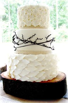 """Organic Organic Bride brought a picture of a cake she found and wanted to emulate for her """"organic"""" wedding. Kudos to the original design... #branch #twigs #fall #cakecentral"""