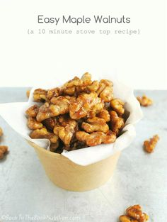 These easy maple walnuts will revolutionize your salads and snacking! Back To The Book Nutrition