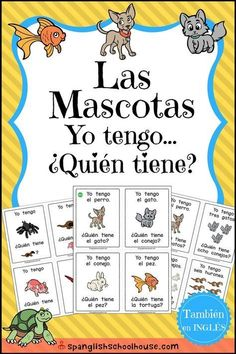 """Las Mascotas """"Yo tengo, Quíen tiene? (""""I have, Who has?"""" Pets in Spanish) is the perfect game for beginning Spanish students. Three game variations are included for practicing numbers, colors, and pet vocabulary! #learnspanishforkidsteaching #spanishlanguagetips"""