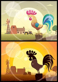 Rooster Crowing #GraphicRiver 2 illustrations of crowing roosters on farm backgrounds. No transparency used. Basic (linear) gradients used in the first illustration. No gradients in the second. A4 proportions. You can remove the lens flare effect in the vector file if you don't need it. CDR , AI, EPS and JPEG files. Created: 13June11 GraphicsFilesIncluded: JPGImage #VectorEPS #AIIllustrator Layered: Yes MinimumAdobeCSVersion: CS Tags: agriculture #animal #barn #bird #cartoon #character…