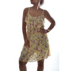 Dámske šaty s kvietkami na ramienka - žlté