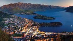 Queenstown at night, New Zeeland