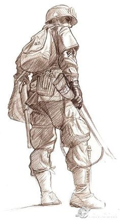 This is a pencil sketch of an American Soldier from Call of Duty World at War. The thing I like about this is how this is a very basic loose sketch with very little tone, it portrays the basic design of the character. I could use this in my GDD to produce numerous sketches within little time and then develop the designs required by the dev team