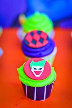 Cupcakes from a Joker Inspired Mad Love Birthday Party via Kara's Party Ideas | KarasPartyIdeas.com - The Place for All Things Party! (67)