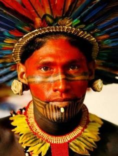 Leader of the Asurini (Red People) Tribe in the Amazon Jungle, Brazil.: