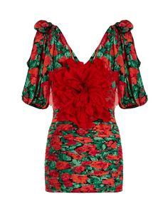 9db42b74 Gucci Flower-embellished ruched silk mini dress Red Silk Dress, Silk Floral  Dress,