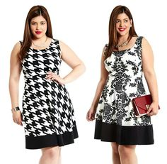 Black and white dresd for curvy women